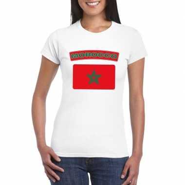 Marokkaanse vlag shirt wit dames