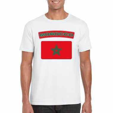 Marokkaanse vlag shirt wit heren