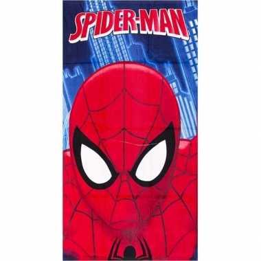 Marvel spiderman gezicht badlaken/strandlaken blauw 70 x 140 cm