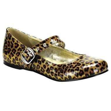 Mary jane ballerinas met gouden luipaardprint
