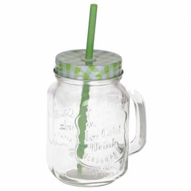 Mason jar/smoothie beker groen met rietje 500 ml