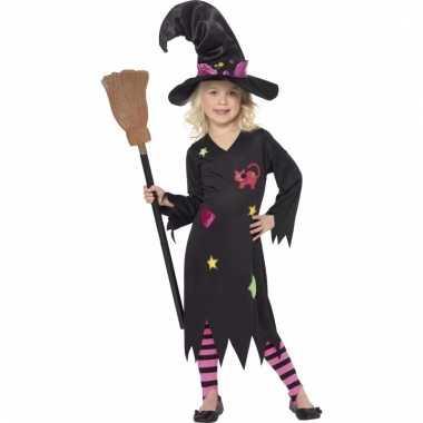 Meisjes heksenjurk rosy met hoed en legging
