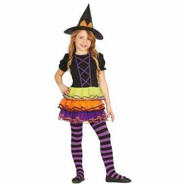Meisjes heksenkleding met gekleurde rok