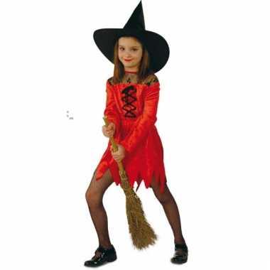 Meisjes verkleedkleding rode heksenjurk