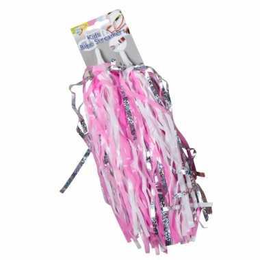 Meisjesfiets versiering voor handvaten roze