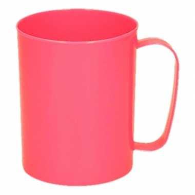 Melamine drinkbeker/mok neon roze 400 ml 11 cm