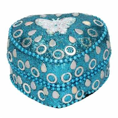 Melktanden doosje edelsteentjes vlinder blauw 6 cm