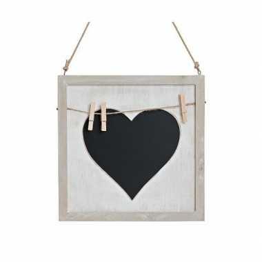 Memo krijtbord met hart en knijpertjes 25 cm