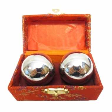 Meridiaanballen zilver 3,5 cm in kistje