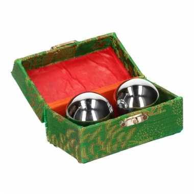 Meridiaanballen zilver 4.5 cm in kistje