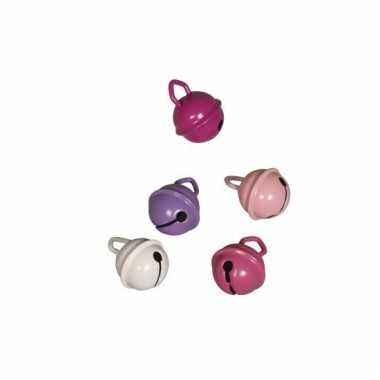 Metalen belletjes roze mix 15 mm