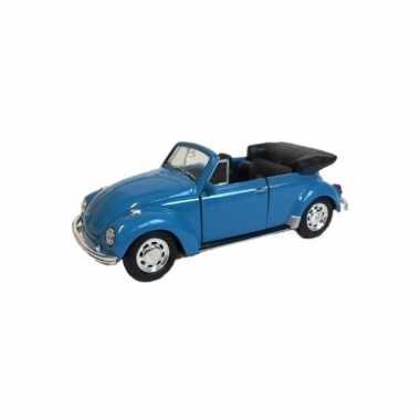Metalen blauwe volkswagen beetle convertible auto schaal 1:39