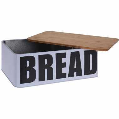 Metalen brood trommel met plank 32 cm