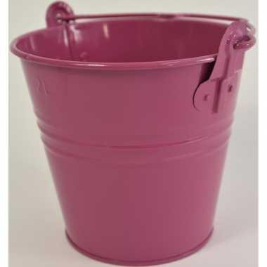 Metalen emmer decoratie fuchsia roze 16 x 14 cm miniatuur