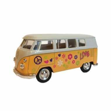 Metalen gele volkswagen hippiebus pull-back