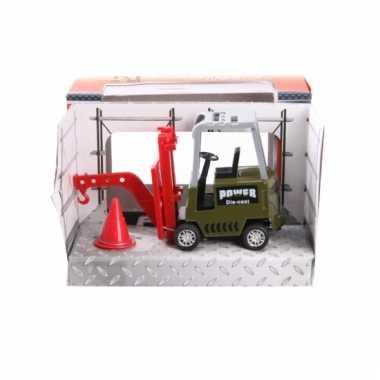 Metalen groene heftruck speelgoed 17 cm