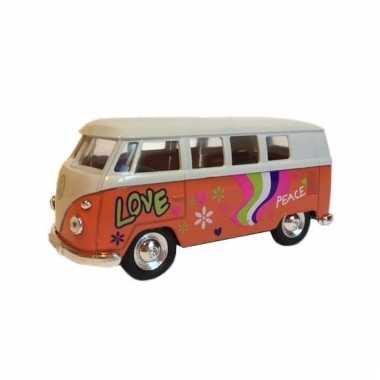 Metalen oranje volkswagen hippiebus pull-back