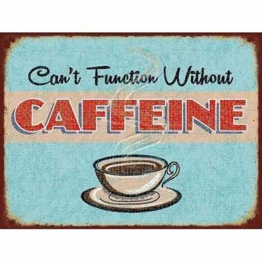 Metalen reclamebord koffie thema caffeine 15 x 20