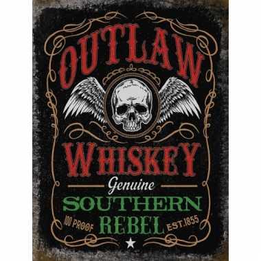 Metalen reclamebord whiskey rebel