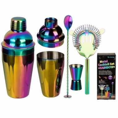 Metalen regenboog cocktail shaker set