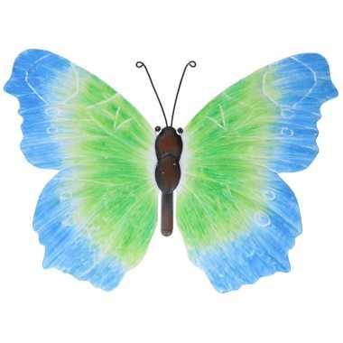 Metalen vlinder blauw/groen 40 cm tuin decoratie