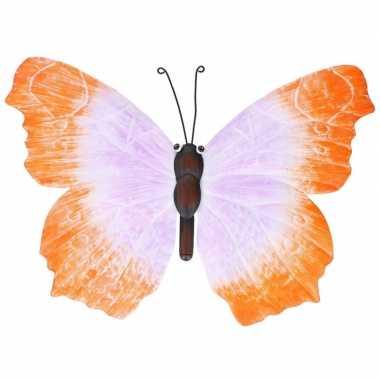 Metalen vlinder oranje/lila 40 cm tuin decoratie