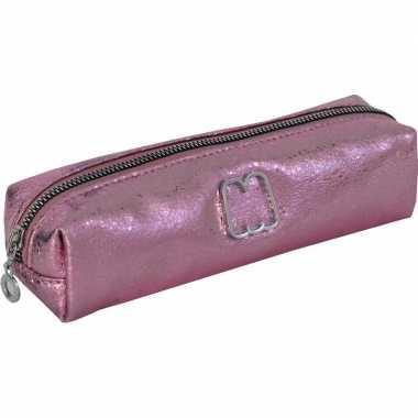 Metallic etui roze 22 cm