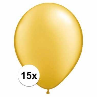 Metallic gouden ballonnetjes 15 stuks