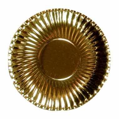 Metallic gouden kartonnen bordjes 23 cm