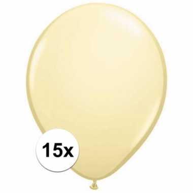 Metallic ivoren ballonnetjes 15 stuks