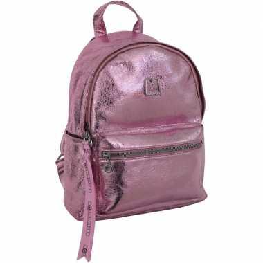 Metallic rugzak/schooltas roze 25 x 30 cm