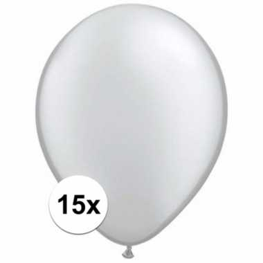 Metallic zilveren ballonnetjes 15 stuks