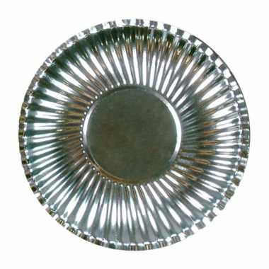Metallic zilveren kartonnen bordjes 23 cm