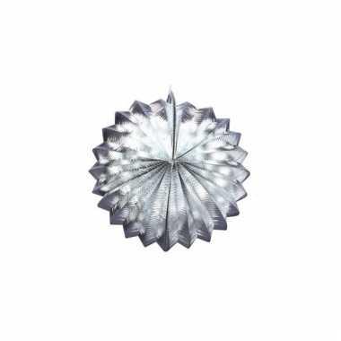 Metallic zilveren lampion 22 cm
