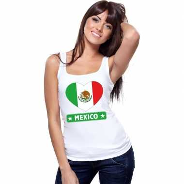Mexicaanse vlag in hartje singlet wit dames