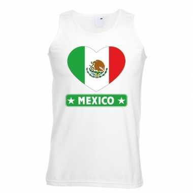Mexicaanse vlag in hartje singlet wit heren