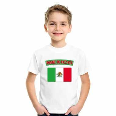 Mexicaanse vlag kinder shirt wit