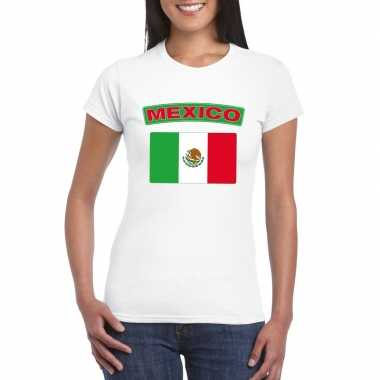 Mexicaanse vlag shirt wit dames