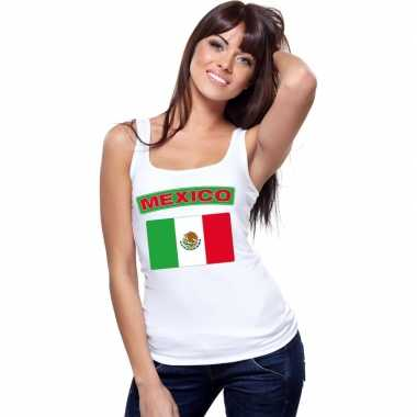 Mexicaanse vlag singlet wit dames