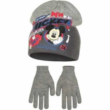 Mickey mouse handschoen en ijsmuts jongens grijs