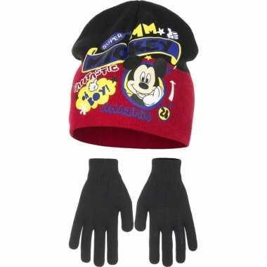 Mickey mouse handschoen en ijsmuts jongens rood