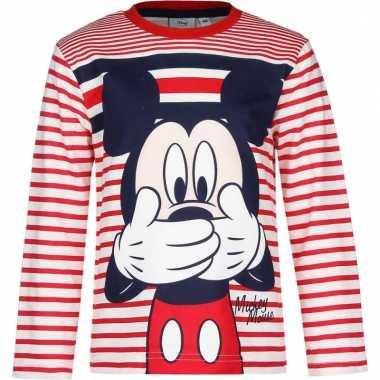 Mickey mouse t-shirt rood/wit voor jongens