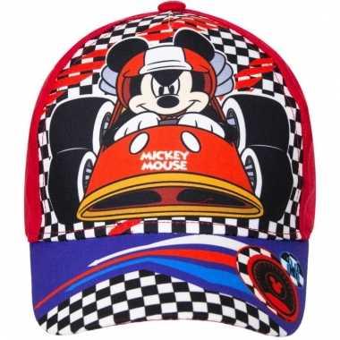Mickey mouse zomer petten/caps rood voor kids