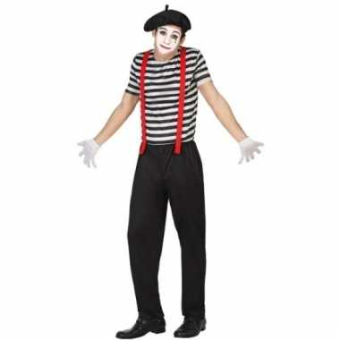 Mime clowns outfit voor mannen