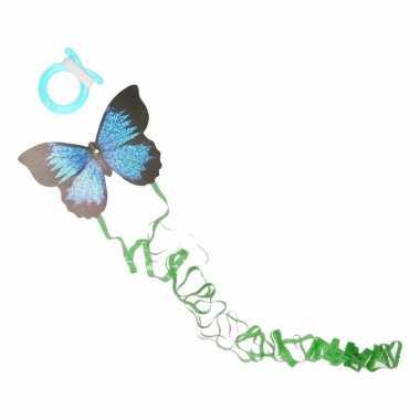 Mini donkerblauwe vlinder vlieger 15cm
