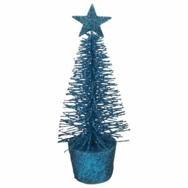 Mini kerstmis decoratie boompje blauw