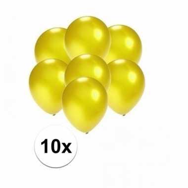 Mini metallic gele ballonnetjes 10 stuks