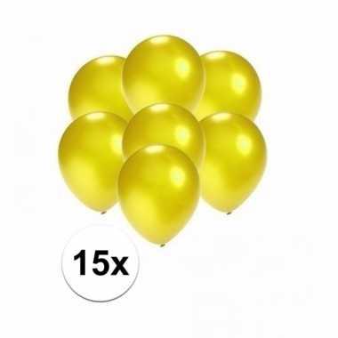 Mini metallic gele ballonnetjes 15 stuks