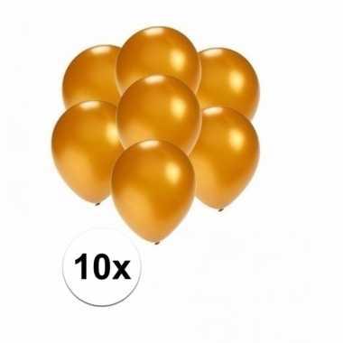 Mini metallic gouden ballonnetjes 10 stuks