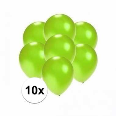 Mini metallic groene ballonnetjes 10 stuks